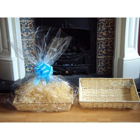DIY hamper kit containing medium Rectangular Bamboo Basket Tray, cellophane basket bag, BLUE pull bow and  paper shred
