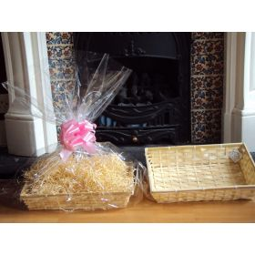 DIY hamper kit containing medium Rectangular Bamboo Basket Tray, cellophane basket bag, PINK pull bow and paper shred