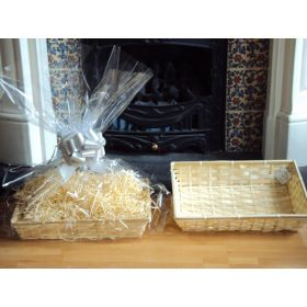 DIY hamper kit containing medium Rectangular Bamboo Basket Tray, cellophane basket bag, SILVER pull bow and paper shred