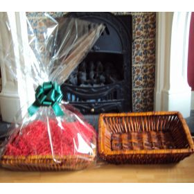 DIY Hamper kit containing Retangular wicker deli basket tray, cellophane basket bag, GREEN pull bow and Xmas paper shred