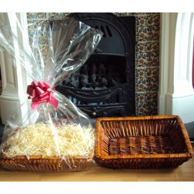 DIY Hamper kit containing Retangular wicker deli basket tray, cellophane basket bag, RED pull bow and paper shred