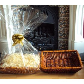 DIY Hamper kit containing Retangular wicker deli basket tray, cellophane basket bag, GOLD pull bow and paper shred