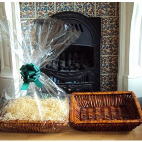 DIY Hamper kit containing Retangular wicker deli basket tray, cellophane basket bag, GREEN pull bow and paper shred