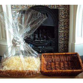 DIY Hamper kit containing Retangular wicker deli basket tray, cellophane basket bag, SILVER pull bow and paper shred