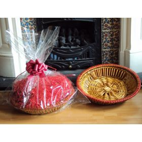 DIY Hamper kit containing Round wicker deli basket tray, cellophane basket bag, RED pull bow and Xmas paper shred