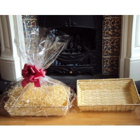 DIY hamper kit containing medium Rectangular Bamboo Basket Tray, cellophane basket bag, RED pull bow and paper shred