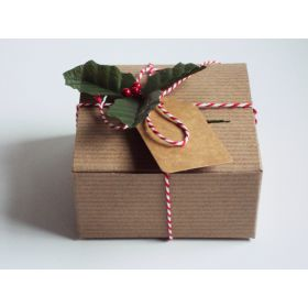 Pack of 10 BROWN KRAFT Gift/favour boxes with hinged lid (13cm x 13cm x 8cm) with Red bakers twine, gift tags & artificial holly leaves with berries