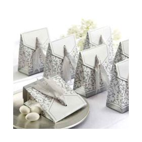 Pack of 10 wedding favour box with silver satin ribbon (70mm x 35mm x 85mm)