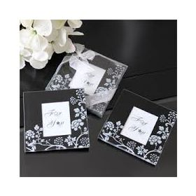 Black/white floral photo coaster (Pack of 4)