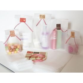 "Pack of 20  Small clear frosted block bottom sweet/party/ gift bags (3"" x 2"" x 7"") with assorted ""just for you"" sticky labels and red/white cotton ribbon"