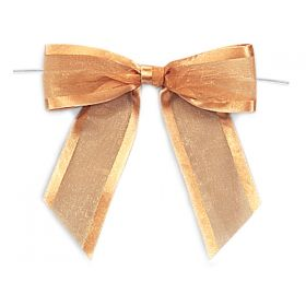 "1½"" Pre-Tied Organza Sheer Bows with satin edge - Gold (Pack of 12)"