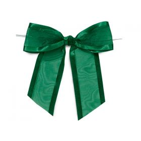 "1½"" Pre-Tied Organza Sheer Bows with satin edge - Hunter green (Pack of 12)"
