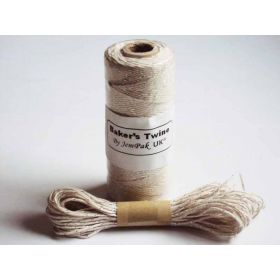 JEMPAK UK 10M x 2mm thick 100% cotton bakers twine - natural cotton with silver shimmer