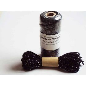 JEMPAK UK 10M x 2mm thick 100% cotton bakers twine  - black with silver