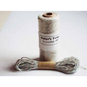 JEMPAK UK 10M x 2mm thick 100% cotton bakers twine blue shimmer