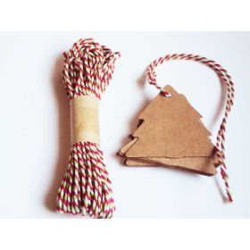 JEMPAK UK Pack of 20 blank xmas tree shape Kraft gift tags with 10M xmas colour Baker's Twine