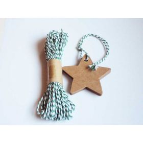 JEMPAK UK Pack of 20 blank Star shape Kraft gift tags with 10M Green Baker's Twine