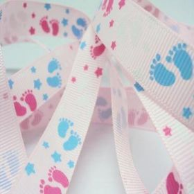 5M x 15mm Grosgrain Baby feet ribbon - Pink