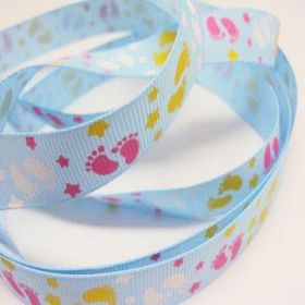 5M x 15mm Grosgrain Baby feet ribbon - Turquoise blue