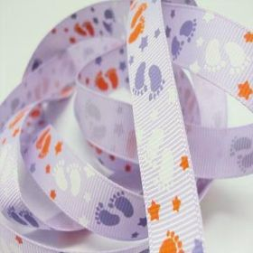 5M x 15mm Grosgrain Baby feet ribbon - Purple