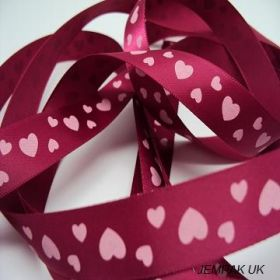 5M x 15mm Single face satin (valentine's ribbon) - red/white