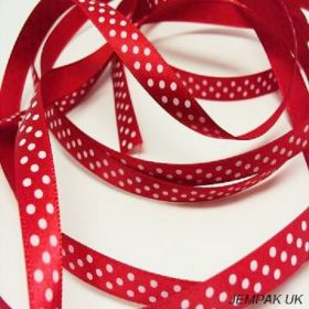 5M x 10mm Single face satin micro polka dot ribbon - white on red