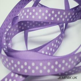 5M x 10mm Single face satin micro polka dot ribbon - white on lavender