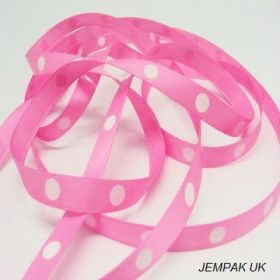 5M x 10mm Single face satin large polka dot ribbon - white on pink