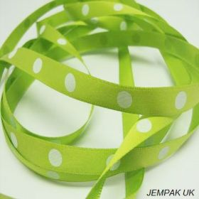 5M x 10mm Single face satin large polka dot ribbon - white on lime green