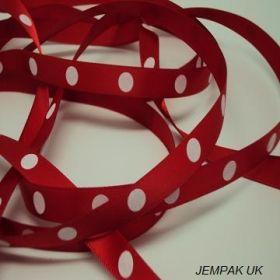 5M x 10mm Single face satin large polka dot ribbon - white on red