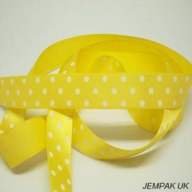 5M x 22mm Single face satin micro polka dot ribbon - white on yellow