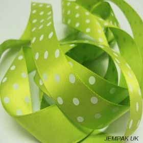 5M x 22mm Single face satin micro polka dot ribbon - white on lime green