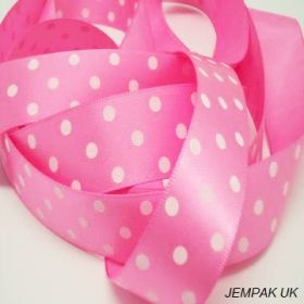 5M x 22mm Single face satin micro polka dot ribbon - white on pink