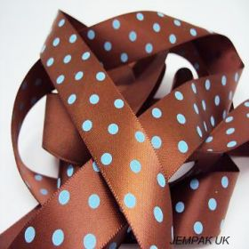 5M x 22mm Single face satin micro polka dot ribbon - turquoise blue on brown