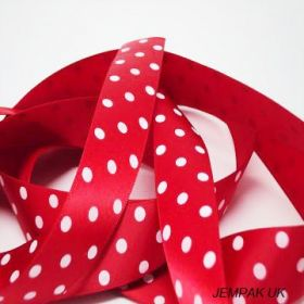 5M x 22mm Single face satin micro polka dot ribbon - white on red