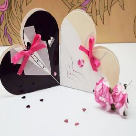 Pack of 10 Bride & Groom sacchetto favour box
