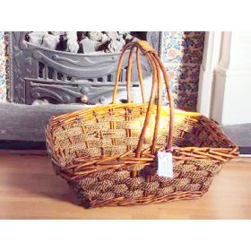 Large rectangular shaped willow wicker basket with handle