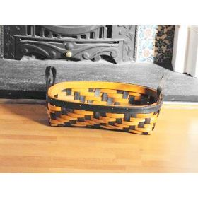 Small rectangular shaped, two tone willow wicker basket with side handle