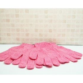 1 pair of Pink exfoliating hand gloves