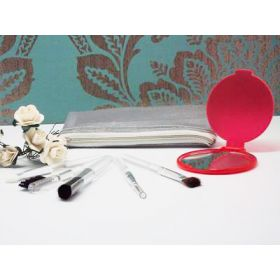 Set of 5 make up brushes with a red face mirror in a silver PVC pouch
