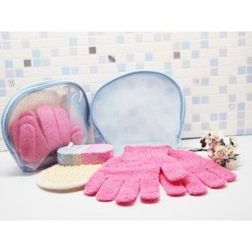 3 exfoliating beauty set in a blue toiletry bag with zip (exfoliating gloves, pumice stone & sisal pad)