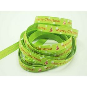 5M x 10mm grosgrain Merry Xmas tree ribbon  - lime green