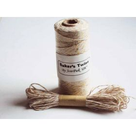 JEMPAK UK 10M x 2mm thick 100% cotton bakers twine  - natural cotton with gold