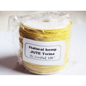 91.4M x 2mm x 2mm thick YELLOW natural Hemp Jute Twine rope