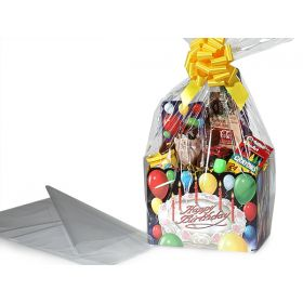 """17"""" X 8"""" X 24"""" Bottom gusseted Cellophane basket bags (Pack of 10)"""