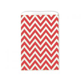 Pack of 20 Chevron Paper Merchandise sweet/party/gift/favour Bags - Red (13cm x 16cm)