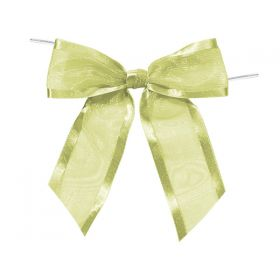 "1½"" Pre-Tied Organza Sheer Bows with satin edge - Moss (Pack of 12)"