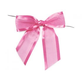 "1½"" Pre-Tied Organza Sheer Bows with satin edge - Pink (Pack of 12)"