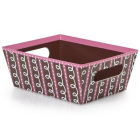 Set of 3 Pink & chocolate swirl gift tray with wide base (23cm length x 18cm width x 9cm deep)