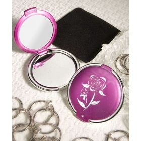 Compact mirror with hot pink cover and rose design in a pouch (Pack of 10)